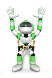 3D Green cowboy robot with both hands in a gesture of surrender. Royalty Free Stock Image