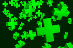 3D green crosses background. Abstract background with green medicine crosses royalty free illustration