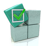3d green cube with check sign on grey boxes Stock Photography