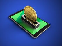 3d green. 3d illustration of mobile phone over blue background with bitcoin Stock Image