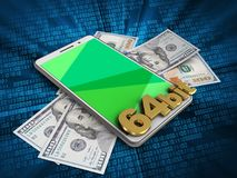 3d green. 3d illustration of white phone over digital background with banknotes and 64 bit sign Stock Photography