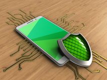 3d green. 3d illustration of white phone over wooden background with electronic circuit and shield Royalty Free Stock Photos