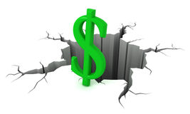 3D Green dollar symbol near the precipice. Stock Images