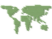 3D green dots earth Stock Image