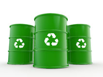 3d green drums with recycle symbol Stock Photo
