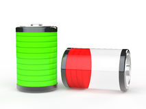 3d green full and red empty battery Stock Images