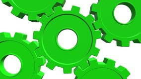 3D green gears rotate . White background. Alpha channel. Close up vector illustration