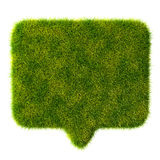 3d green grass bubble talk on white background Stock Images