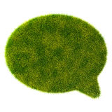 3d green grass bubble talk on white background Royalty Free Stock Photos