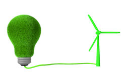 3d green grass light bulb and wind turbine Royalty Free Stock Photos