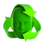 3d Green head recycle symbol Royalty Free Stock Image
