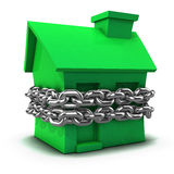 3d Green house bound by chain Stock Image