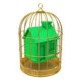 3d Green house in a golden cage Stock Photos