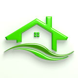 3D Green House Wave Logo Stock Photo