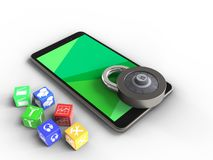 3d green. 3d illustration of mobile phone over white background with cubes and code lock Stock Photography