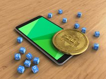 3d green. 3d illustration of mobile phone over wooden background with binary cubes and bitcoin Stock Image