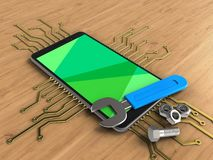 3d green. 3d illustration of mobile phone over wooden background with electronic circuit and wrench Stock Images
