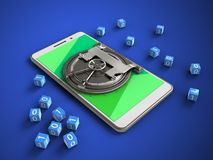 3d green. 3d illustration of white phone over blue background with binary cubes and vault door Royalty Free Stock Photo