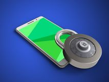 3d green. 3d illustration of white phone over blue background with lock Royalty Free Stock Image