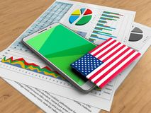 3d green. 3d illustration of white phone over wooden background with business papers and USA flag Stock Image