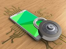 3d green. 3d illustration of white phone over wooden background with electronic circuit and lock Stock Image