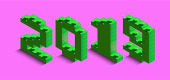 3d izometric number of new year from lego bricks. 3d izometric number 2019 from constructor bricks. 3d green izometric number of new year from lego bricks on stock illustration