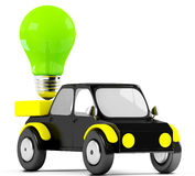 3D green lamp in a black car Stock Photos