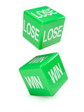 3d Green lose and win dice Stock Photo