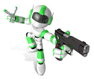 3D Green Mascot robot is holding a Automatic pistol pose. Create Stock Image