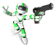 3D Green Mascot robot is holding a Automatic pistol pose Stock Images