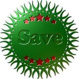 A 3D green metallic seal Save. A 3D green metallic seal with complex edges cut into it stars in red and the text `Save` in green Royalty Free Stock Photo