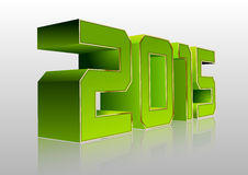 2015 3D Green. Green numbers 2015 with gold edges. Vector New Year symbol Stock Photography