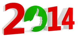 3D green ok sign with year 2014 Stock Photo