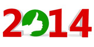 3D green ok sign with year 2014 Royalty Free Stock Photo
