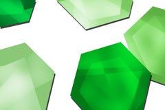 3d green overlaping hexagon, abstract background Stock Photos