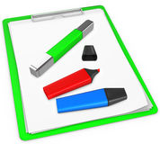 3d green  pad holder with markers Royalty Free Stock Images