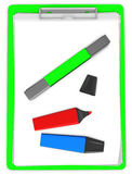 3d green  pad holder with markers Royalty Free Stock Image