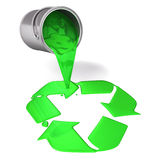 3d green paint pour a recycle symbol. 3d render image paint ans can series Royalty Free Stock Photo
