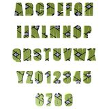 3D green patterned letters / alphabet / numbers Stock Image