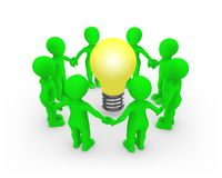 3d green people keep their hands around the bulb. 3d rendered illustration Stock Photo