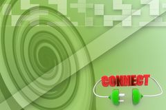 3d green plug  with connect text Illustration Royalty Free Stock Images