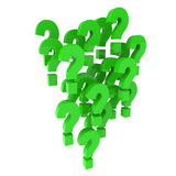 3d Green question marks Royalty Free Stock Image