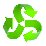 3d Green recycle arrows symbol. 3d render of a green recycle arrows symbol Royalty Free Stock Images