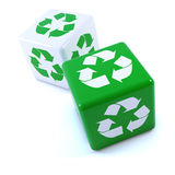 3d Green recycle dice Stock Photo