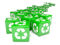 3d Green recycle dice to the horizon Royalty Free Stock Photography