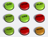 3D Buttons set Stock Photo