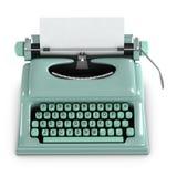 3d Green retro typewriter Stock Images