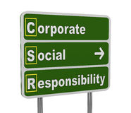 3d green road sign of csr. 3d illustration of green roadsign of acronym csr - corporate social responsibility Stock Photo