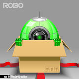 3d green robo eyeborg exiting from a brown box. With red ribbon as a surprise. Big green and black eye and antenna, two hands. Digital vector image Stock Photo