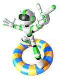 3d Green robot character surfing on lifebuoy. Royalty Free Stock Images